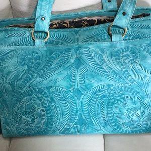 Handbags - Tooled Turquoise leather bag